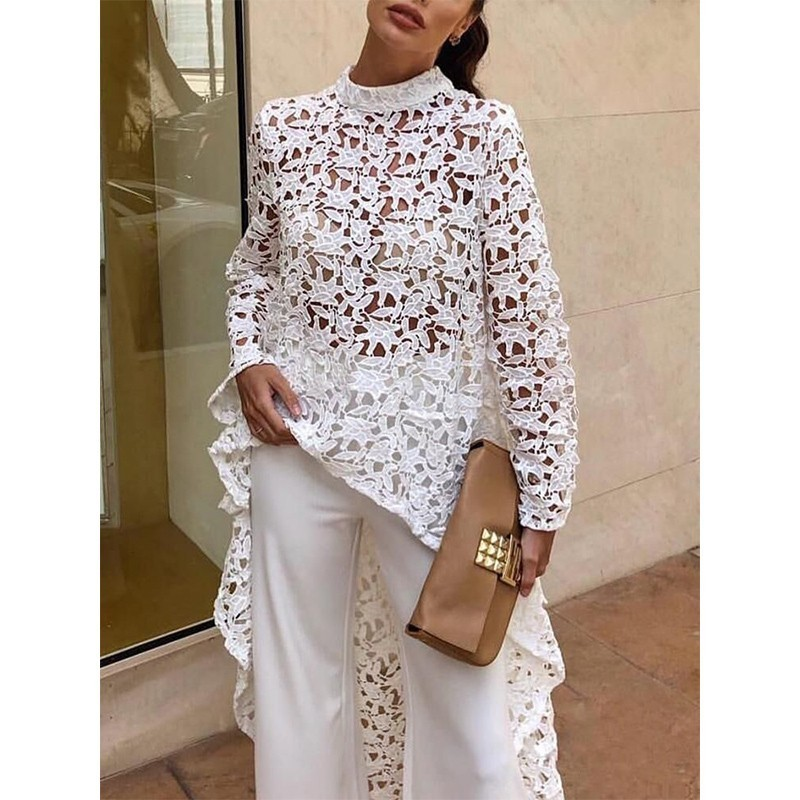 White Lace Dress Women Summer 2019 Loose Pink Casual Dresses Ladies Long Sleeve Hollow Out Asymmetrical Summer Dress For Women in Dresses from Women 39 s Clothing