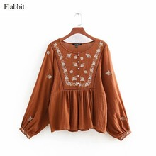 Flabbit vrouwen vintage bloem borduren lace hollow out losse kiel blouses shirt vrouwen o hals chic femininas blusas tops LX0547(China)