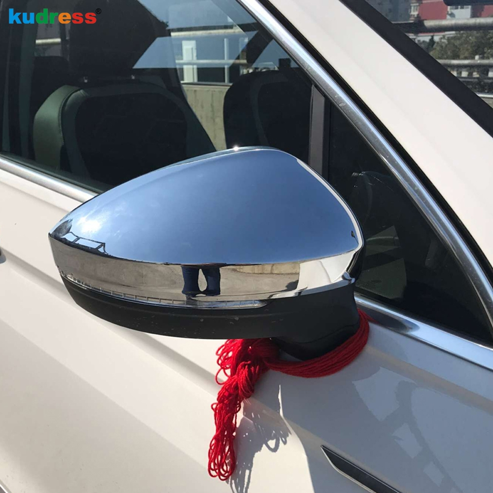 ABS Rearview Side Mirror Eyebrow Cover Trim For VW Tiguan 2nd Gen 2017-2018