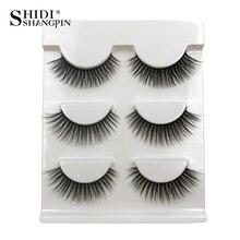 SHIDISHANGPIN 3 pairs Mink Eyelashes Natural Long 3d Lashes Makeup False Eyelash Extension faux cils 11