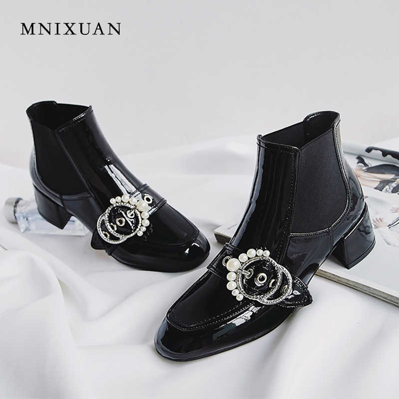MNIXUAN Chelsea boots women shoes 2018 winter new square toe patent leather ankle boots black slip on pearls buckle short boots