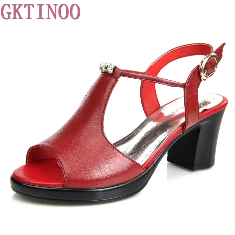 Genuine Leather Shoes Women Sandals Peep Toe High Heels Real Leather Sandals Rhinestone Ladies Shoes free shipping 100%real picture women shoes wedges high heels platform luxury ethnic diamond genuine leather peep toe sandals