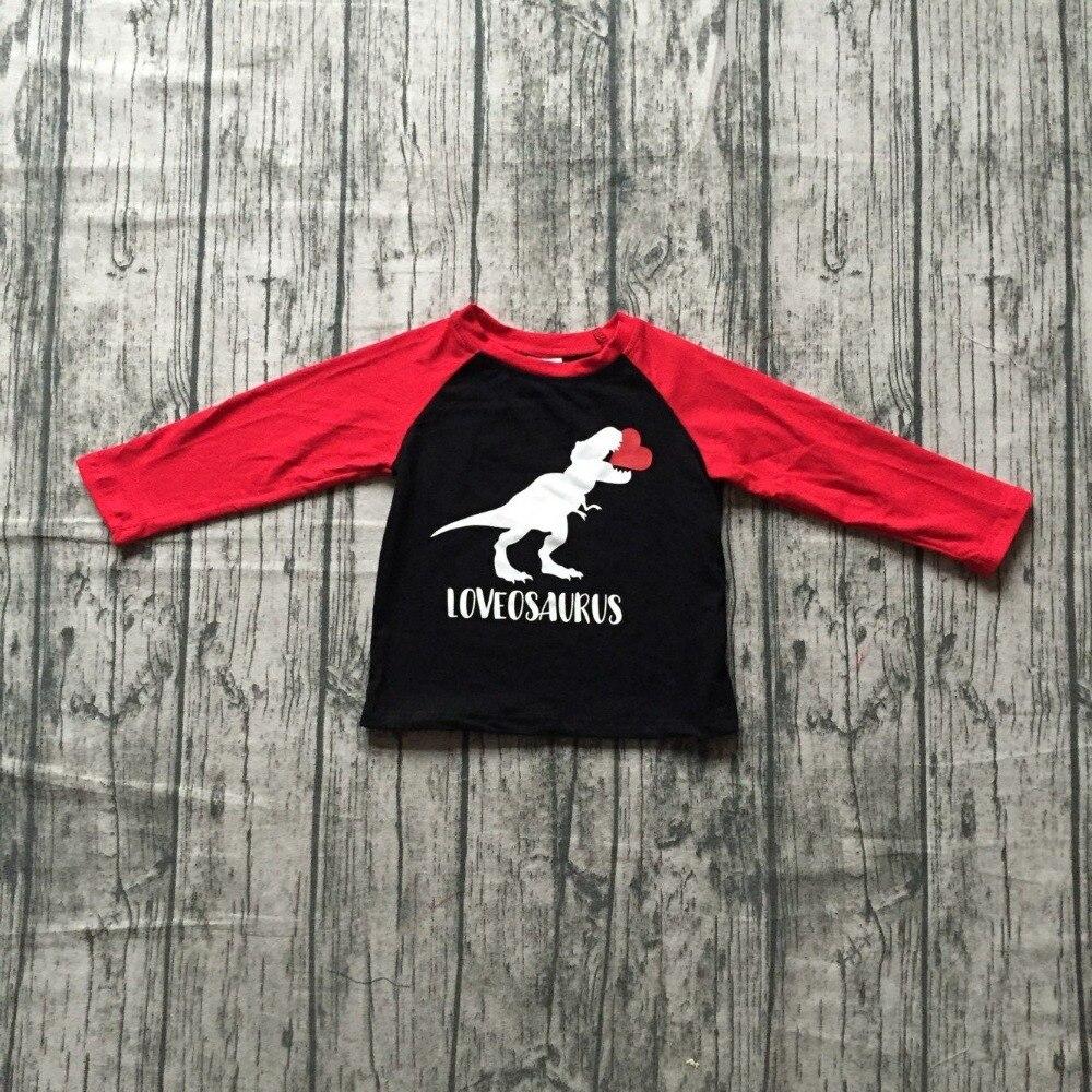 Nueva primavera Día de San Valentín bebé dinosaurio Amor amor corazón osaurus algodón boutique lindo topT-camisa reglans los niños clotes