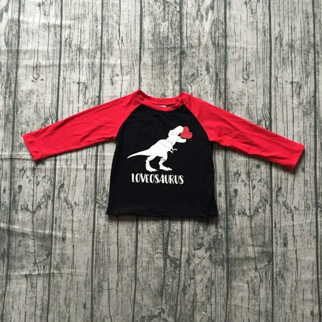 b76dd2d9f new spring Valentine's Day baby boy's Dinosaur love heart love osaurus  cotton boutique cute topT-shirt reglans childen clotes