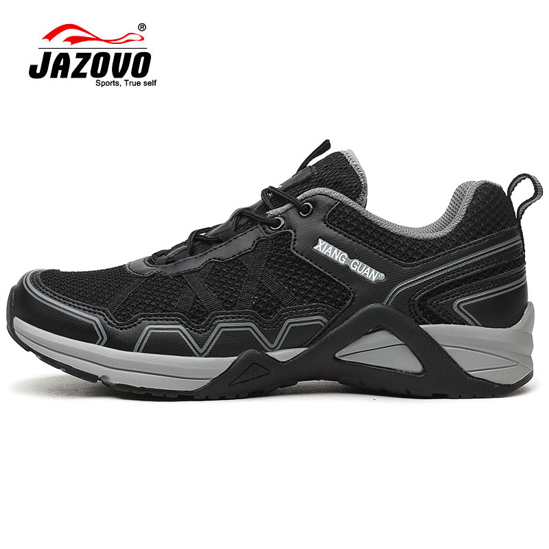 Jazovo Sport Running Shoes Mens New Trainers Athletic Comfortable Man Sneakers Breathable Mesh Light Weight Male Footwear Black  2017 mens running shoes breathable male outdoor walking sport shoes new man athletic sport sneakers for adults