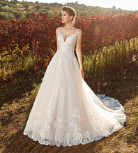 Romantic Princess Wedding Dress Backless Spaghetti Straps Sweetheart Tulle Bridal Gown With Lace Appliques New Arrival