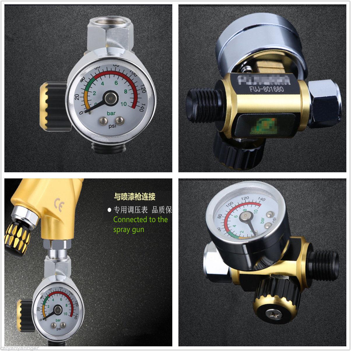 Universal Metal Spray Gun Air Pressure Regulator Gauge 0-0.10Mpa G1/4 Adjustable Relief Regulating Regulator Pressure Regulator
