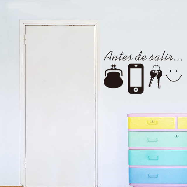 Spanish Quotes Wall Stickers For Living Room Door Daily Before Leaving Reminder Home Decor Vinyl Wall Decals Mural Decoration