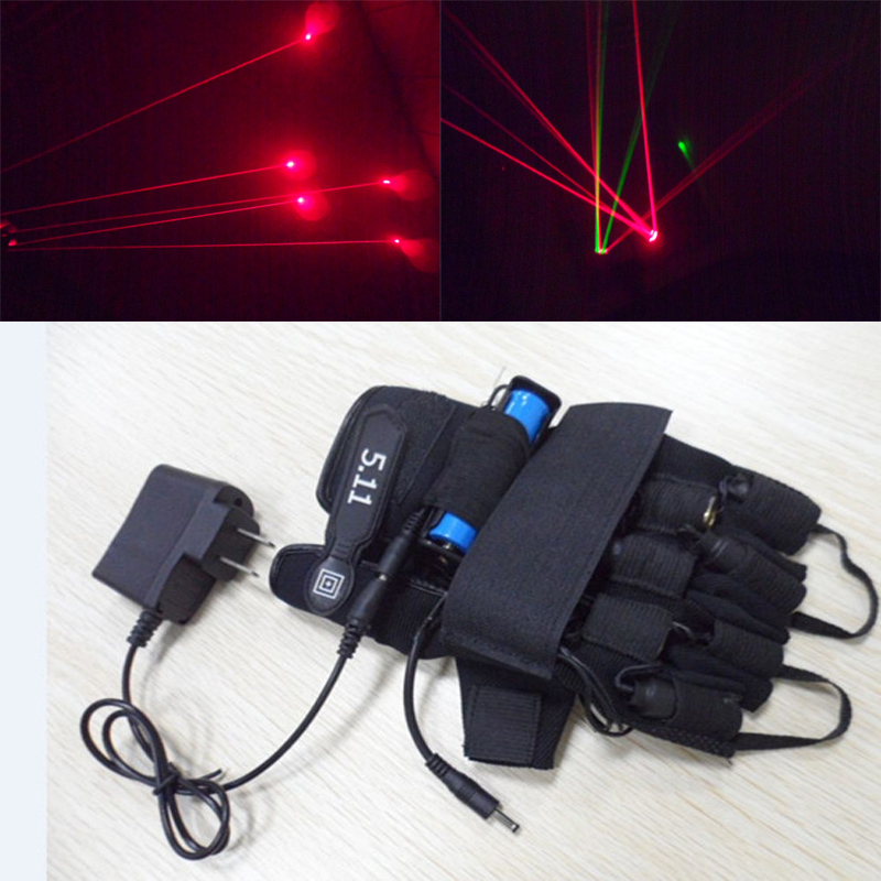 Red laser 650nm refers to the 4laser gloves DJ club party stage performance bar KTV laser dance props laser gloves