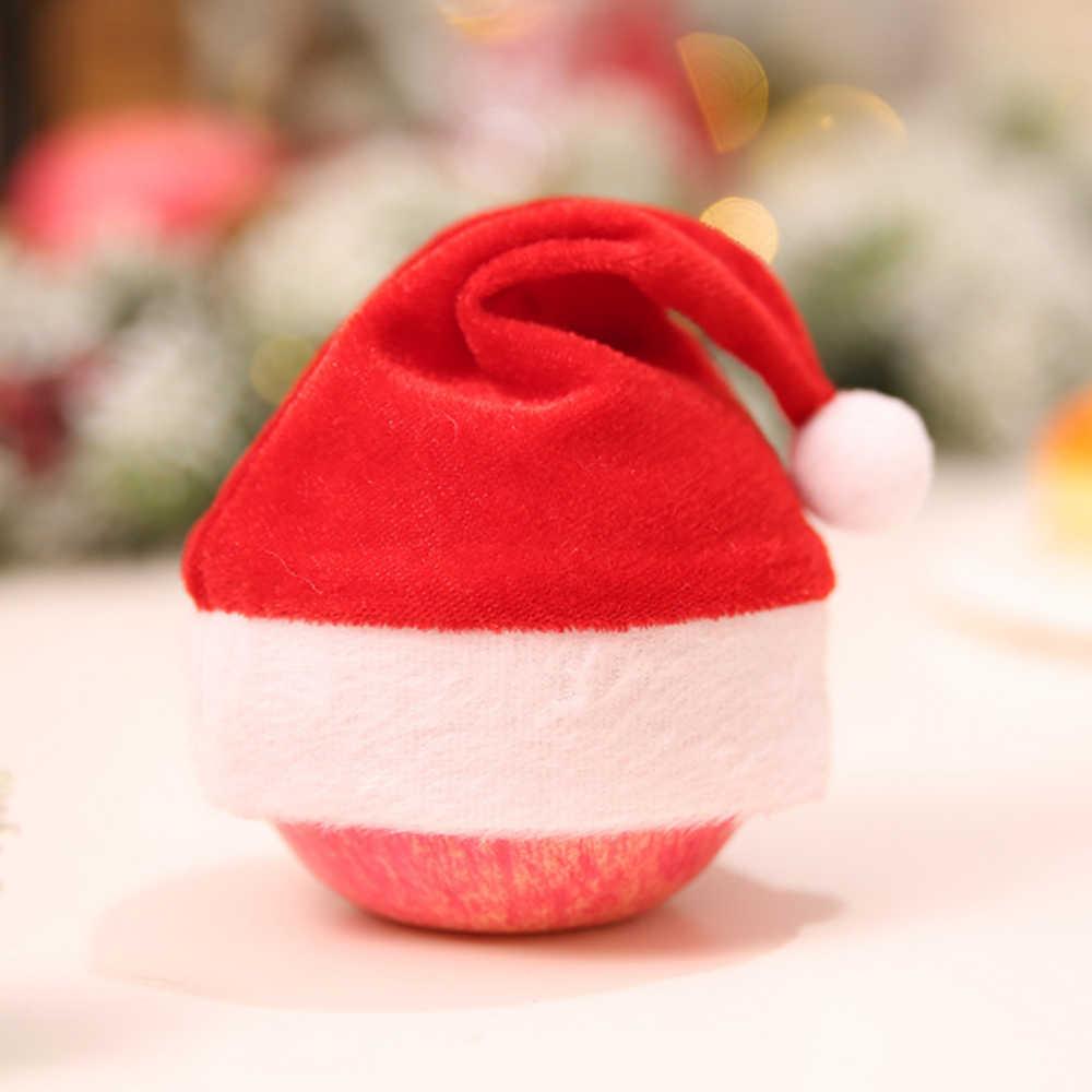 2 ชิ้น/ล็อต Mini ไม่ทอหมวกคริสต์มาส Apple Xmas ของขวัญหมวกหมวกขวดไวน์ตกแต่งเด็กหมวกเทศกาลใหม่ปีอุปกรณ์