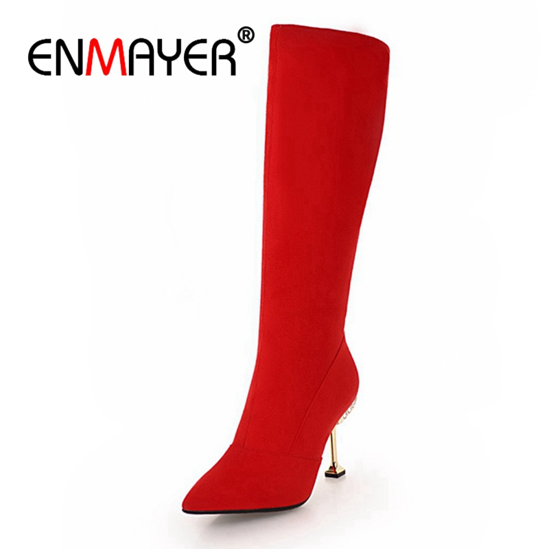 ENMAYER Women Mid Calf boots Pointed Toe High heels Short boots Autumn Winter boots Suede footwear shoes Thin heels Zip CR1199 enmayer high heels pointed toe spring