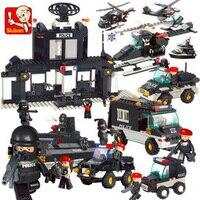 Sluban Полицейский спецназ армейский автомобиль-вертолет мотоцикл база центр 3D модель DIY полицейский строительные блоки игрушка подходит ...