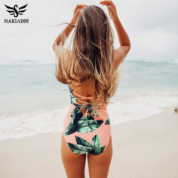 NAKIAEOI 2018 Sexy One Piece Swimsuit Push Up Swimwear Women Bodysuit Print Bandage Beach Wear Bathing Suit Monokini Swimsuit XL
