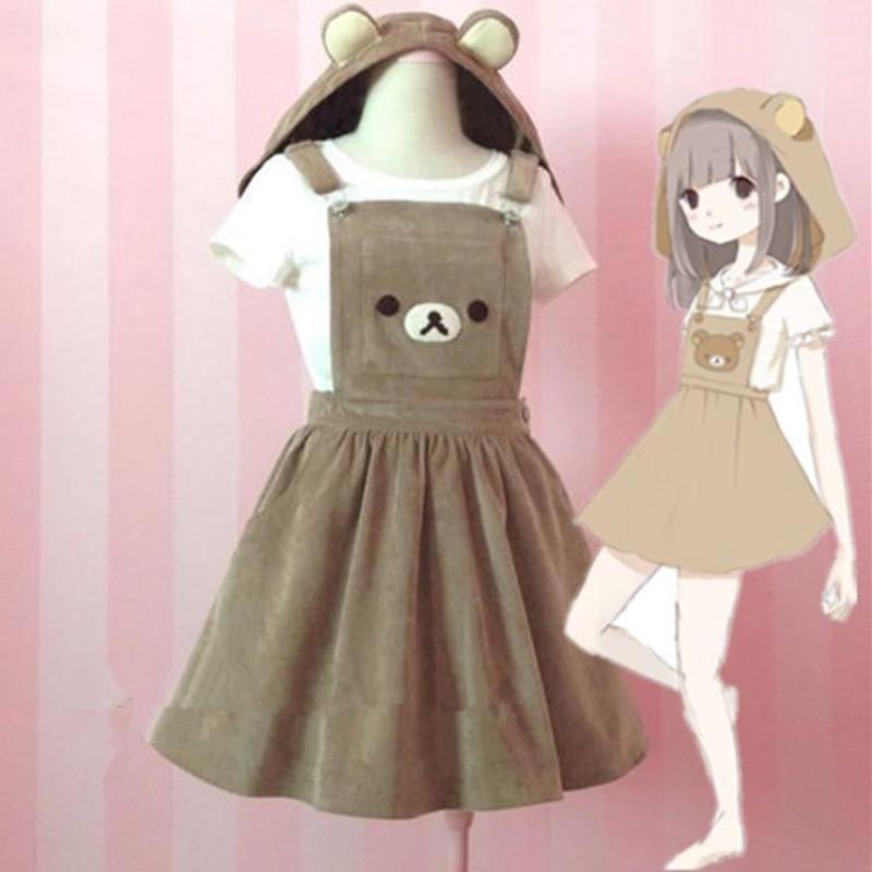 Kawaii Relax Bear Jumpsuit Dress Bear Embroidery Lolita Rilukkuma Overall Skirt Hat Japanese Kawaii Clothes Cute Harajuku Skirts
