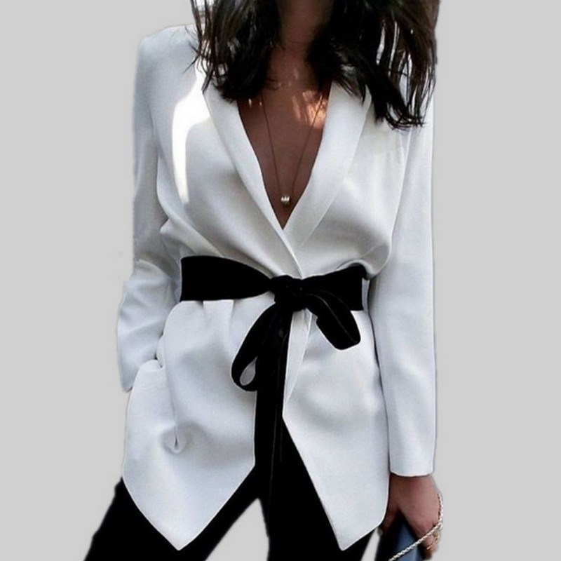 Big sales elegant white autumn winter coat blazer women sexy wrap hi