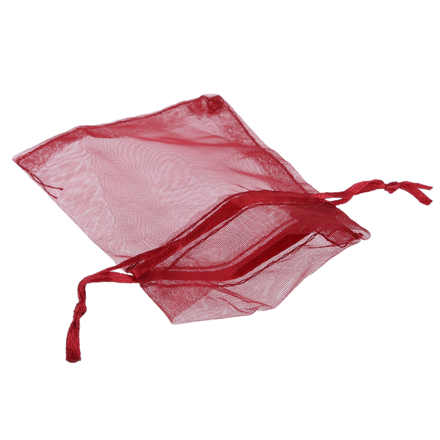 100 Organza Bags Wedding Favour Candy Pouches Wine Red