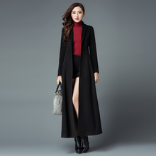 2016 Winter New Arrival Fashion Ultra Long Women's Woolen Jacket Coat Solid Color One Button Female Outwear Cashmere Overcoat
