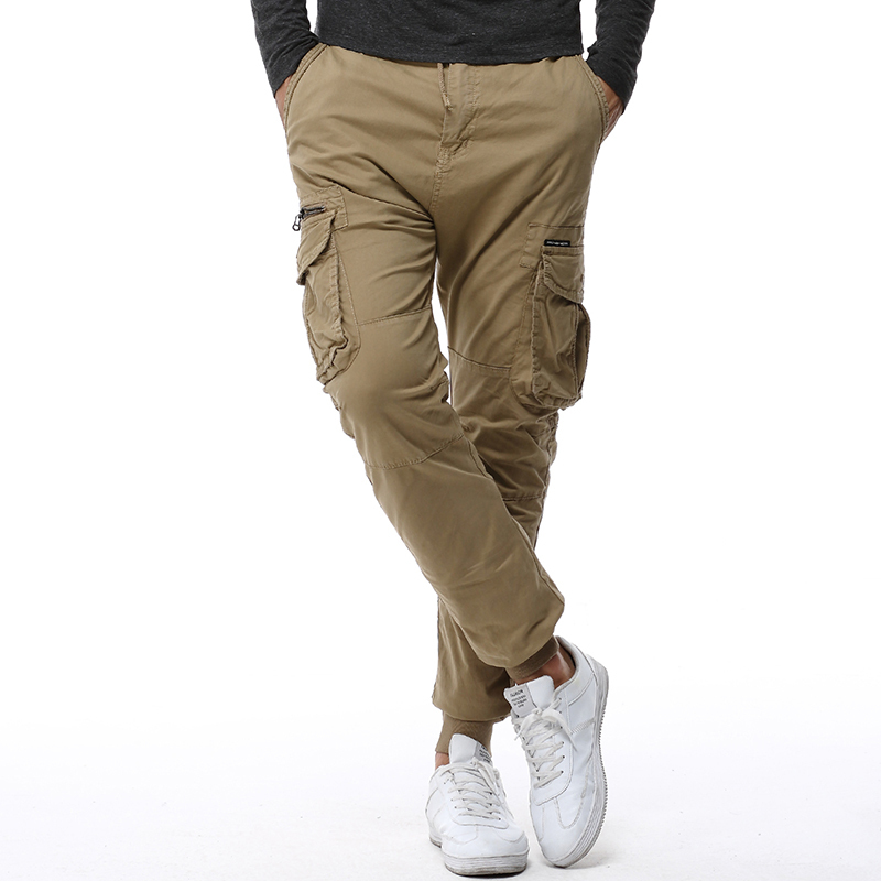 Khaki Men's Casual Pants Cotton Mens Joggers Elastic Waist ...