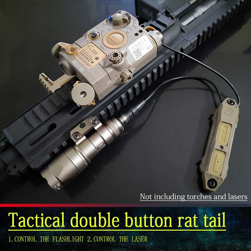 NEW Airsoft tactical flashlight LED and PEQ15 laser dual control button mouse tail switch