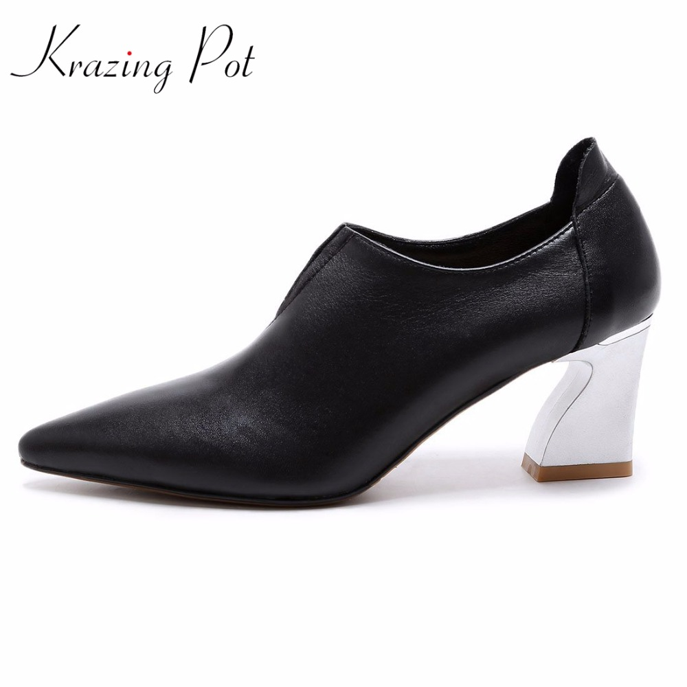Krazing pot 2018 genuine leather fashion brand spring shoes pointed toe metal high heels women pumps office lady handmade L30 krazing pot new fashion brand shoes square toe shallow women pumps metal strange high heels slip on causal office lady shoe 02