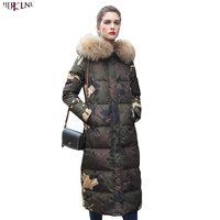 2018 Новый Для женщин Зимняя куртка пуховик камуфляж X длинные меха с капюшоном пальто Винтаж теплой верхней Повседневное корейский Стиль Вер
