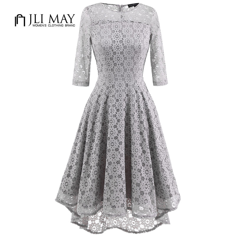 JLI MAY Women Elegant Lace Dress Three Quarter Sleeve O Neck Asymmetrical Grey Slim Autumn Office