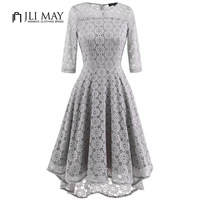 JLI MAY Women Elegant Lace Dress Three Quarter Sleeve O Neck Asymmetrical Grey Slim Autumn Office