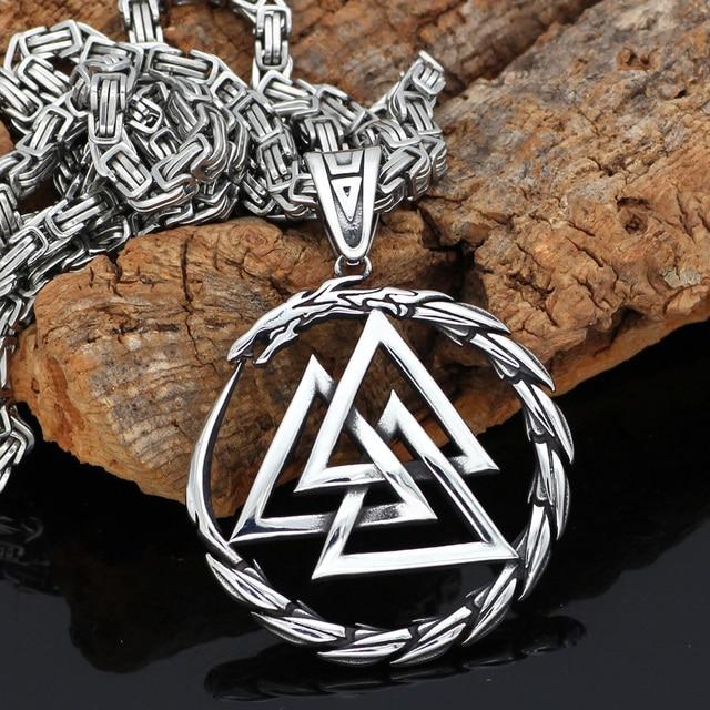 Collier pendentif homme en acier inoxydable Viking Valknut amulette dragon 1
