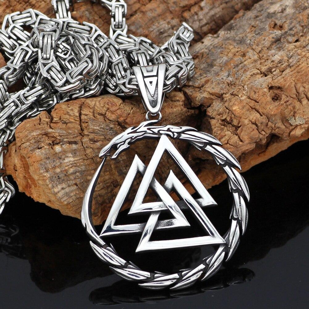 Men Stainless steel Viking Valknut Amulet dragon Pendant Necklace(China)