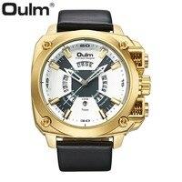 OULM Golden Quartz Mens Watches Top Brand Luxury Leather Strap Tonneau Dial Calendar Fashion Waterproof Wrist