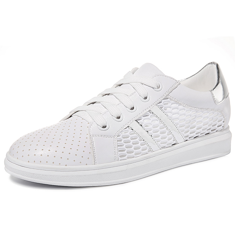 ФОТО Women's Summer White Air Mesh Breathable Light Work Casual Travel Lady Girl Flats Shoes