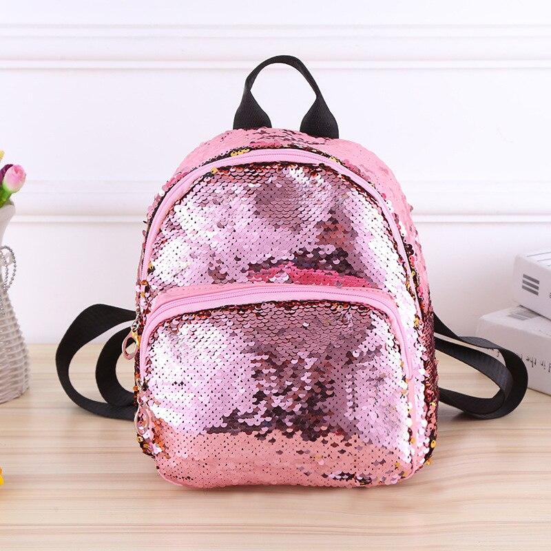 Sacos de livro de escola para meninas adolescentes mochila de viagem de couro pequeno mochila de volta pacote de crianças lantejoulas bagpack