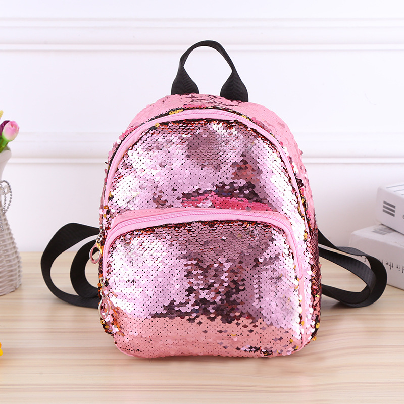 Women Small Backpack Leather Travel Backpacks For Teenager Girls School Book Bags Back Pack Children Sequin Bagpack