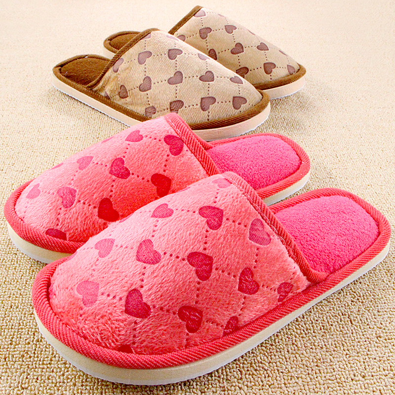 New Cotton Unisex Winter Soft Hearts House Slippers For Women And Men Couples Plush Home Shoes Floor Pantuflas Interior Zapatos 2017 winter pantuflas pantufa love heart pattern cotton plush slippers soft warm floor indoor shoes women bedroom house slippers