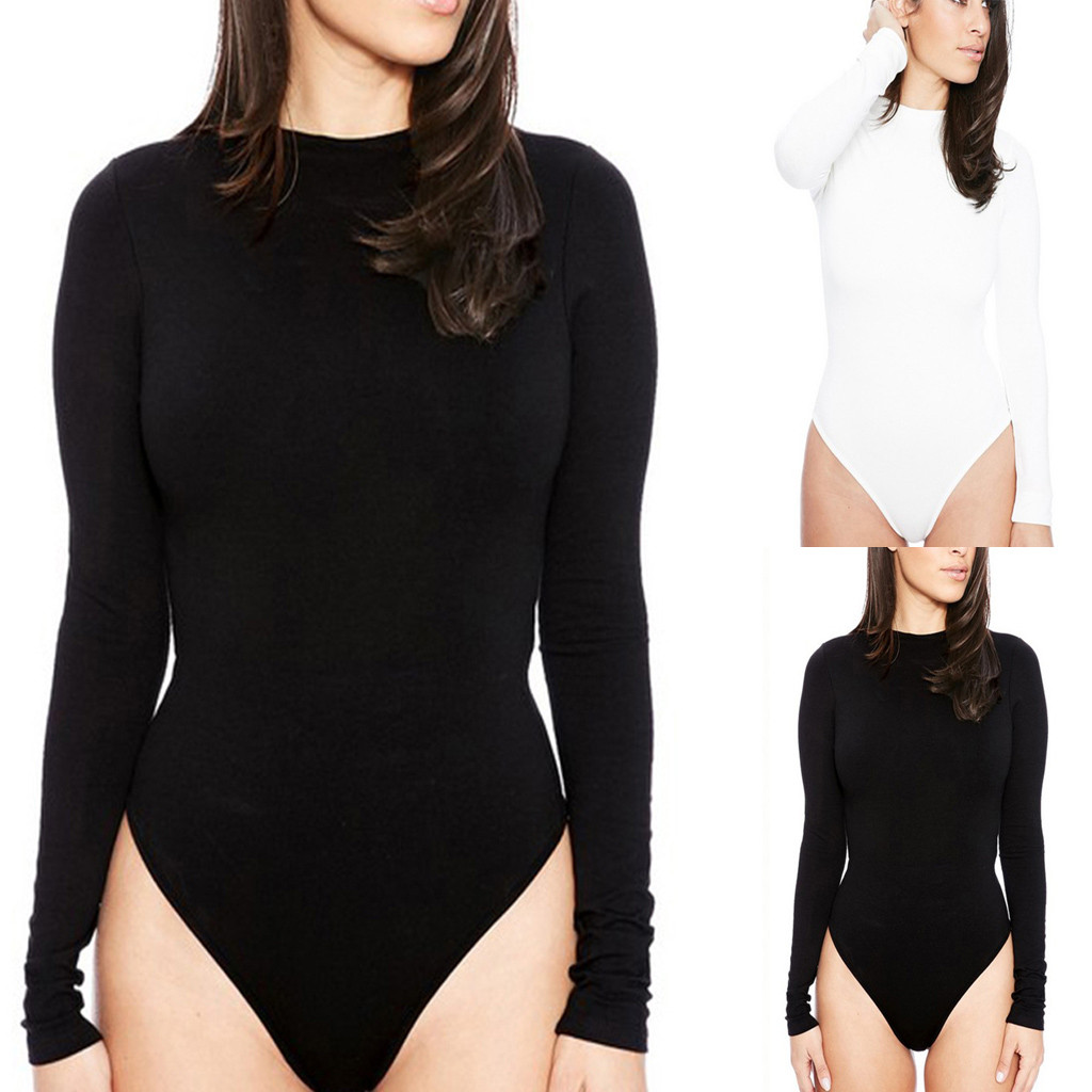 2019 Summer Jumpsuit Fashion Women Sexy Solid  Tight Long Sleeve O-Neck One-Piece Bodysuit Jumpsuit Playsuit Bodysuits  L404A
