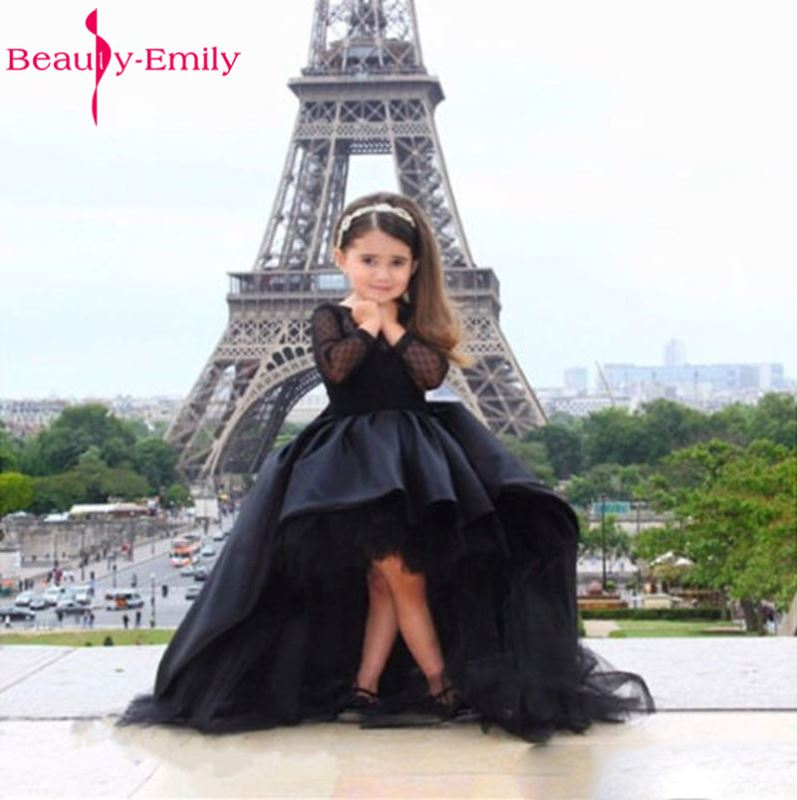 Beauty Emily Black   Flower     Girl     Dresses   2018 Ball Gown Belt Bow Lace Wedding Party   Girl   Prom   Dresses