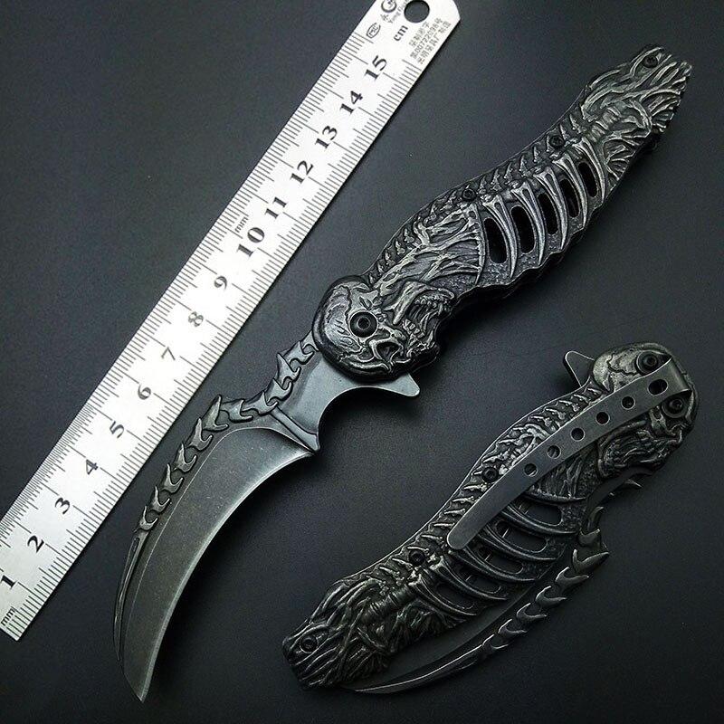 Knuckles schädel messer Stonewash 7CR13 karambits Folding Messer Taktische Faltende Klaue Messer Gute Qualität Freies verschiffen
