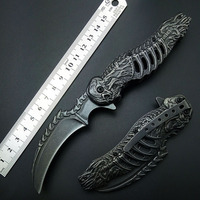 Knuckles Skull Knife Stonewash 7CR13 Karambits Folding Knife Tactical Folding Blade CLaw Knives Good High Quality