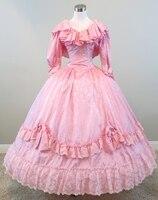 Розовое платье с оборками Civil war костюм в стиле «Ренессанс» платье атласное платье