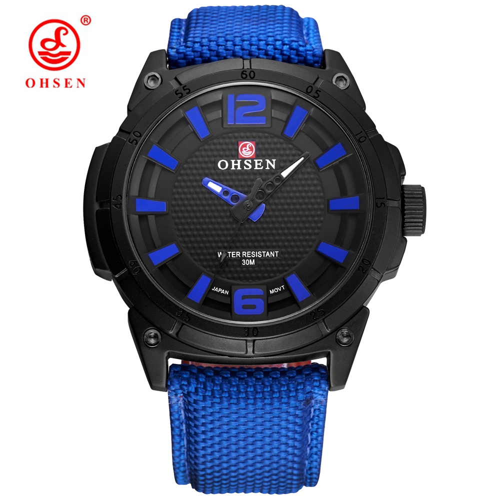 Montre Homme OHSEN Fashion Male Amry Quartz Watch Men Blue Analog Wristwatches 30m Swim Sports Watch Canvas Leather Band Relogio casual leather band mens watch fashion business analog display quartz wristwatches montre homme water resistant luminous clock