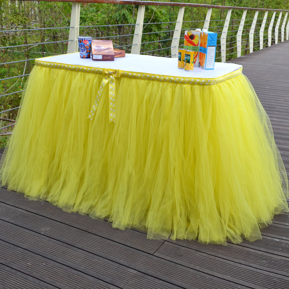 Buffet table skirting - Tulle Tutu Table Skirt 100 Nylon Yellow Skirt Table 31 5 Inch Height Customized Cloth Table