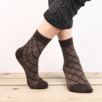 5 Pairs Lot Wool Socks Men Winter Cashmere Warm Casual Sock Meias Rhombus Pattern Virtual