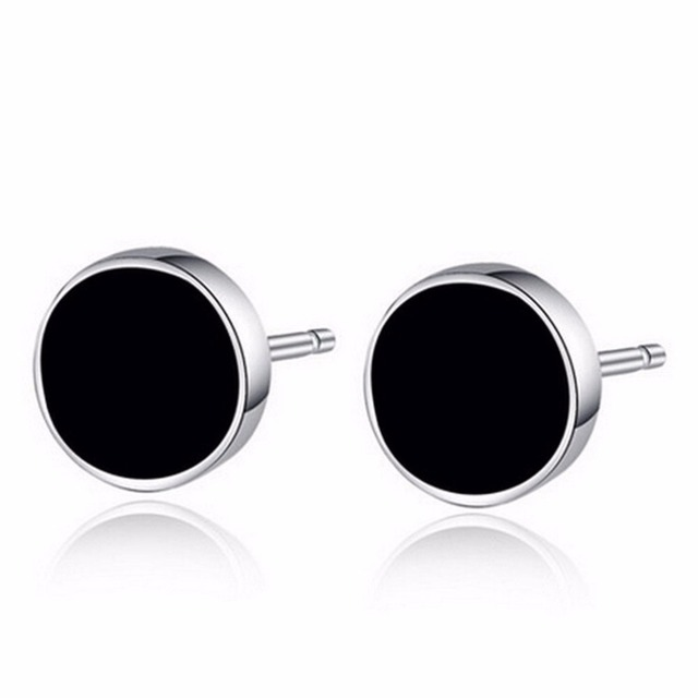 2pcs Hot Ing Men Black Round Ear Stud Plastic Metal Punk Style Earrings
