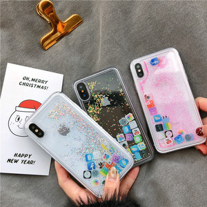 Image 2 - For iPhone 8 Liquid Hard PC Clear Phone Shell For iPhone 6 6S 7 8 Plus X XS XR MAX Cases Quicksand Cover Cute APP icon Case Capa