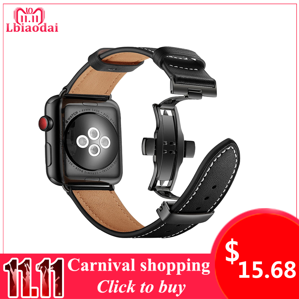 Leather strap For Apple watch band 42mm 38mm 44mm 40mm Stainless Steel butterfly Loop watchband bracelet iwatch series 4 3/2/1 цена