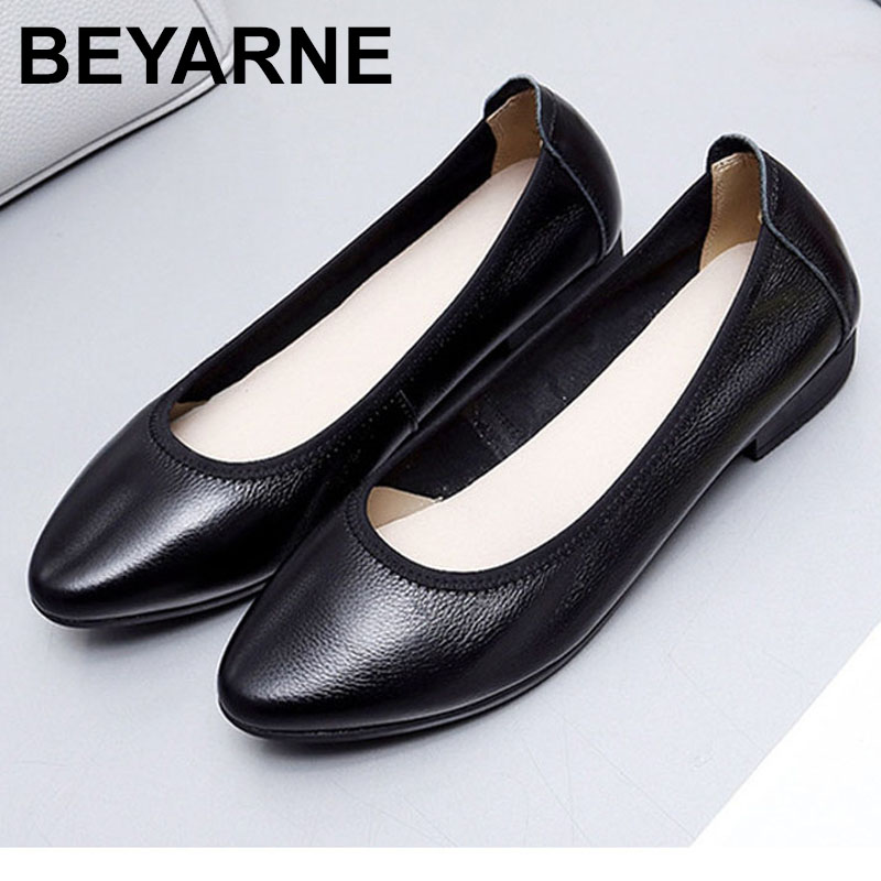 BEYARNE Ballet flats 2019 genuine leather flat shoes woman pointed toe casual work shoes women flats loafers size 35-42E114