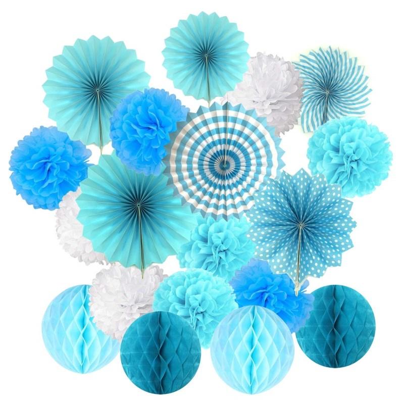 19Pcs/Set Blue Tissue Paper Pom Poms Flower Fan and Honeycomb Balls for Birthday Baby Shower Wedding Festival Decorations
