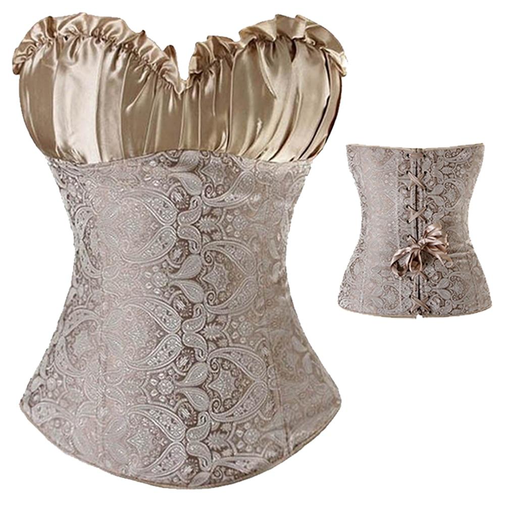 0ac3a743ec5 X Black Beige Silver Sexy women Lace up boned Zip side Overbust Gothic  Dress Corset Bostier Size S 6XL-in Bustiers   Corsets from Underwear    Sleepwears on ...