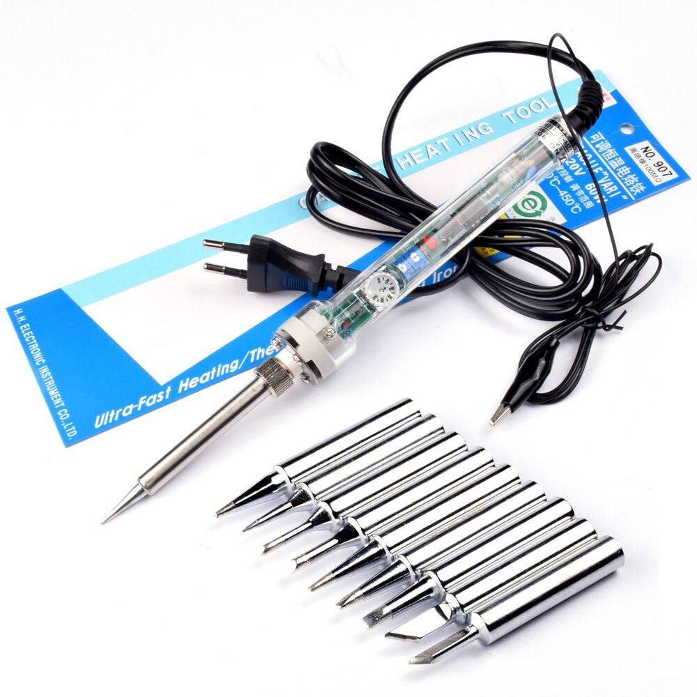 Termóstato de hierro eléctrico ajustable UE 220v 60W herramienta de soldadura 200-450temperatura ajustable 907