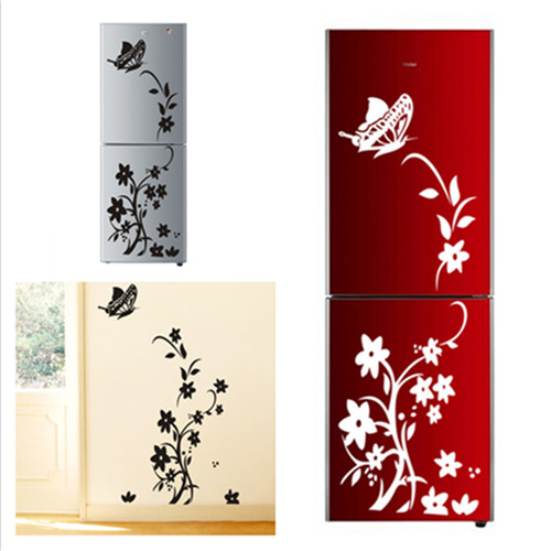 Classic Elegant Black Flower Butterfly Kitchen Wall Stickers Living Room Dining Room Refrigerator Home Decor Flora Mural Decals